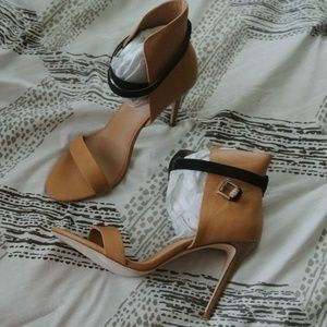 Just Fab brown ankle wrap heels